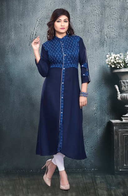 Cotton Straight Kurti in Blue