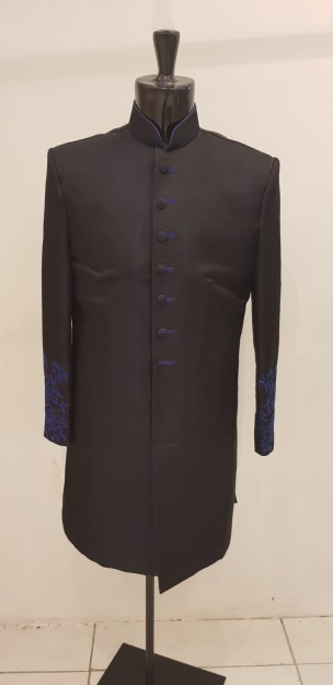 Black Banarasi Silk Brocade Dashing Sherwani