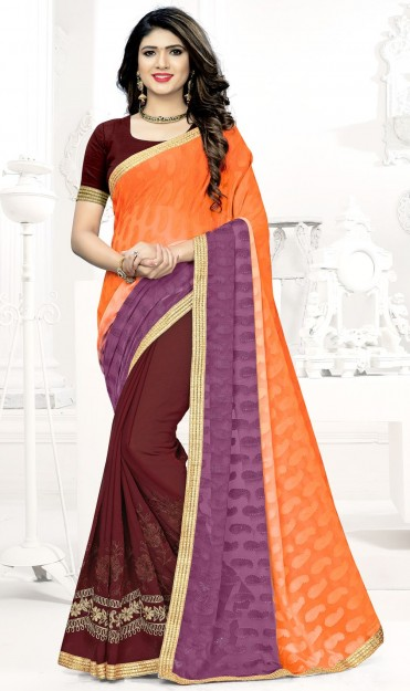 Brown & Orange Embroidered Georgette Saree