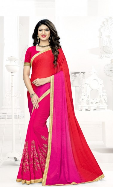Red & Pink Embroidered Georgette Saree