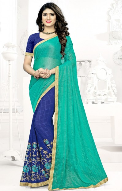Navy Blue & Peacock blue Embroidered Georgette Saree