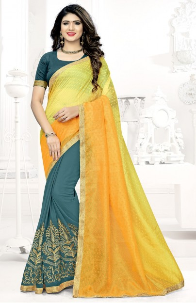 Yellow & Grey Embroidered Georgette Saree