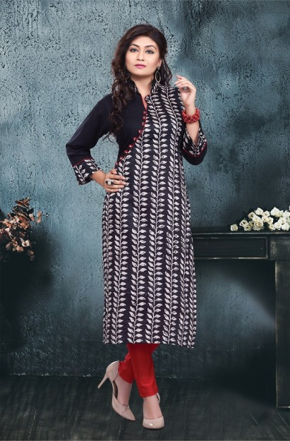 Cotton Printed straight Kurti in Black