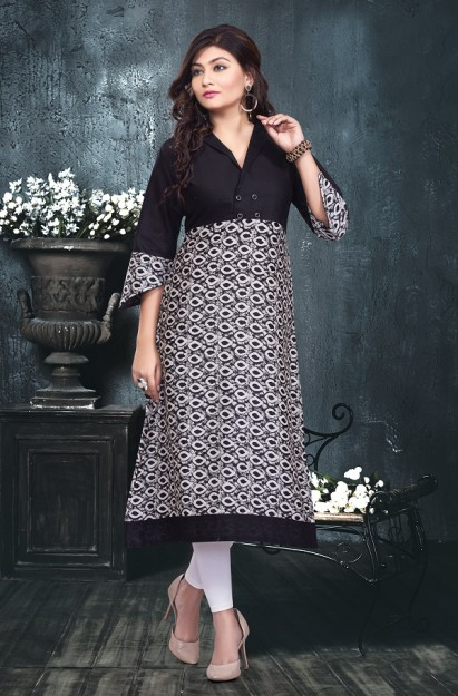 Cotton Printed Kurti with asymmetrical sleeves in Black