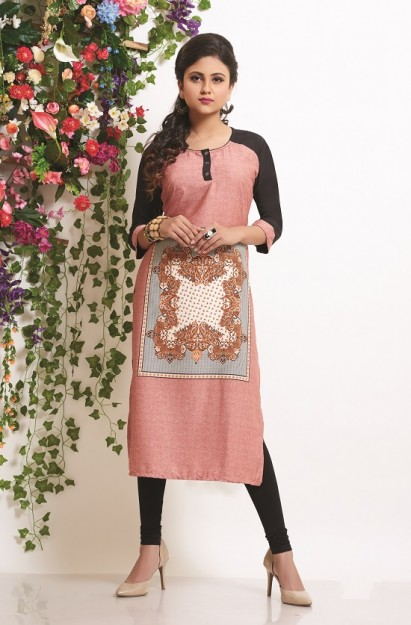 Rayon Straight Kurti In Rose colour