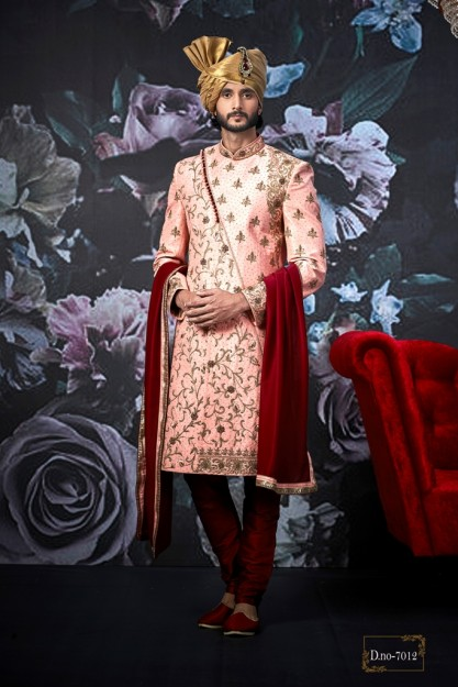 Party Wear Pink Art Banarasi Silk Indo Western Sherwani