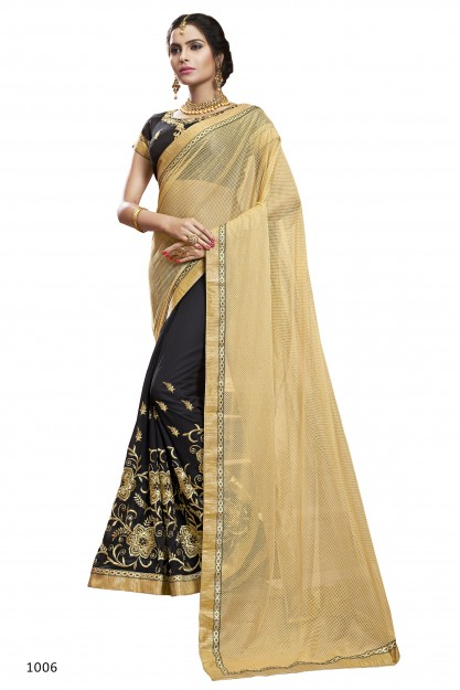 Black & Beige Semi Georgette Saree With Heavy Embroidery