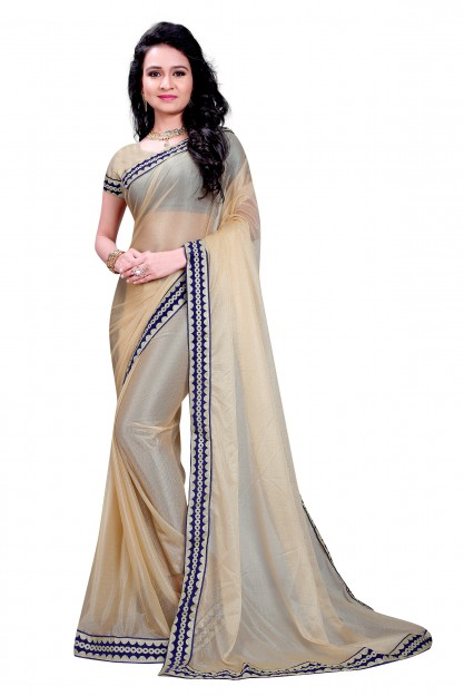 Cream Fashion Chiffon Net Saree-Cream