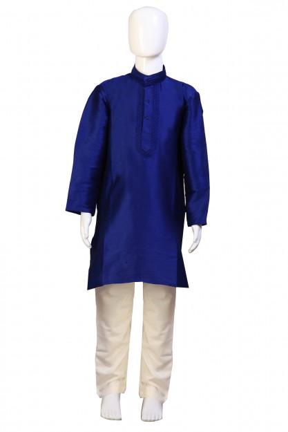 Kids Navy Blue & Cream Raw Silk With Embroidery Kurta Pyjama