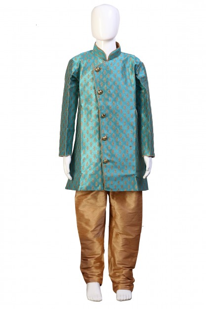 Kids Sea Blue & Beige Raw Silk With Embroydary & Antique Buttons Kurta Pyjama