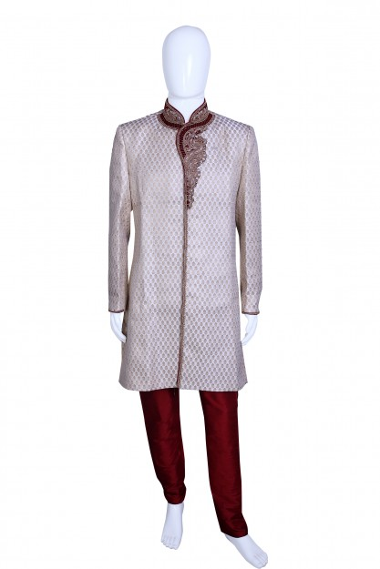 Cream & Red Raw Silk With Embroydary Traditional Sherwani