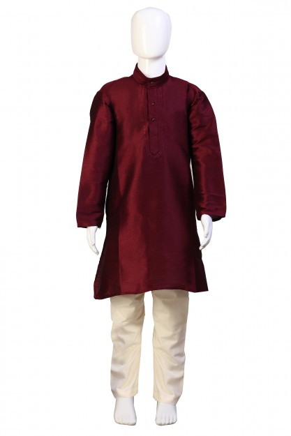 Kids Magenta & Cream Raw Silk With Embroidery Kurta Pyjama