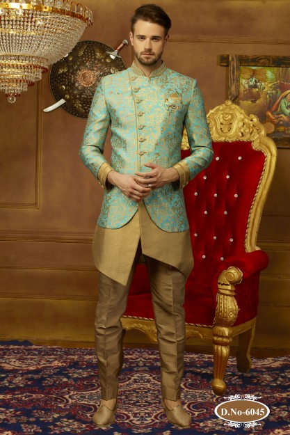 Sea Green & Beige Charming Resham Work Embroidered Sherwani