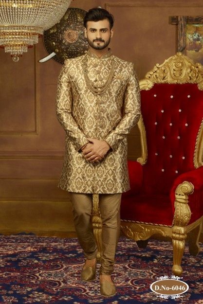 Dynamic Beige & Golden Resham Work Sherwani