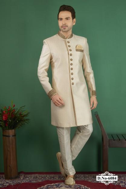 Cream Resham Work Indo Western Sherwani with Fancy Pocket