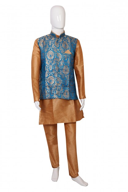 Light Brown & Blue Kurta Waistcoat and Pyjama