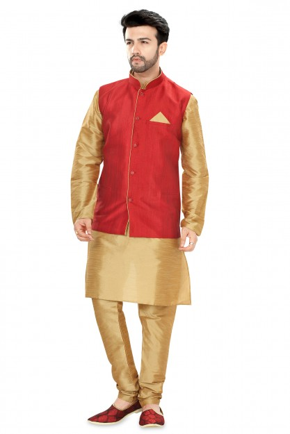 Beige & Red Traditional Wear Jacket Suit