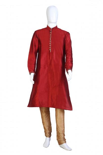 Party Wear Dark Red & Beige Kurta Pyjama