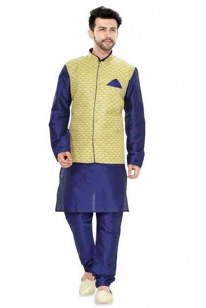 Yellow & Navy Blue Jacket Suit