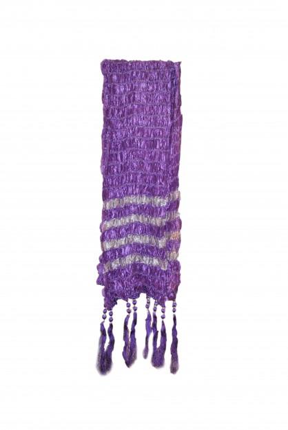 Dupatta With Silver Stripes-Purple