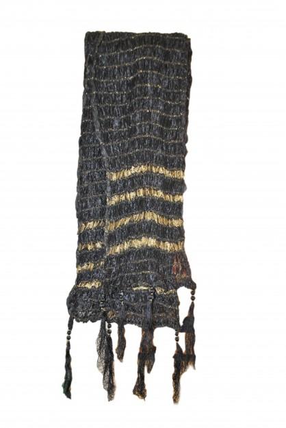 Dupatta with Gold Stripes-Black