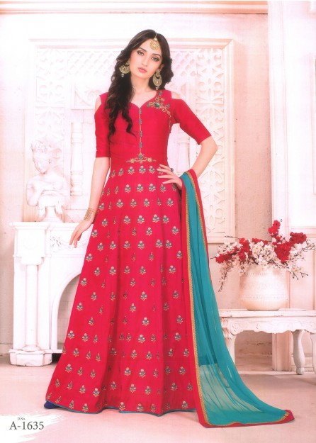 pink with green Embroidered Silk Anarkali with Net Duppata