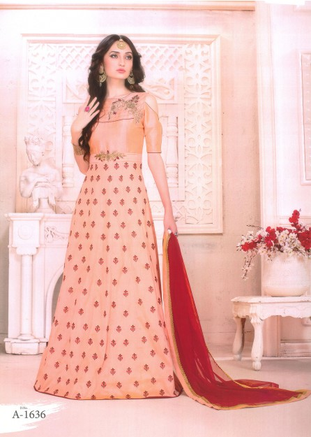 Peach with Red Embroidered Silk Anarkali with Net Duppata