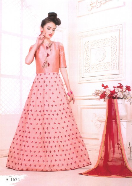 Peach Embroidered Silk Anarkali with Net Duppata