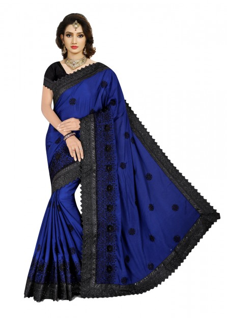 Navy Blue & Black colour soft cotton silk saree