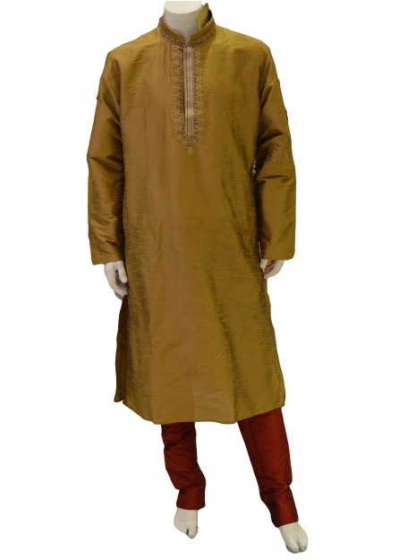 Gold art silk kurta pyjama