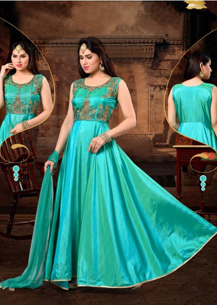 Turqoise Green Embroidered Silk Anarkali with Net Duppata