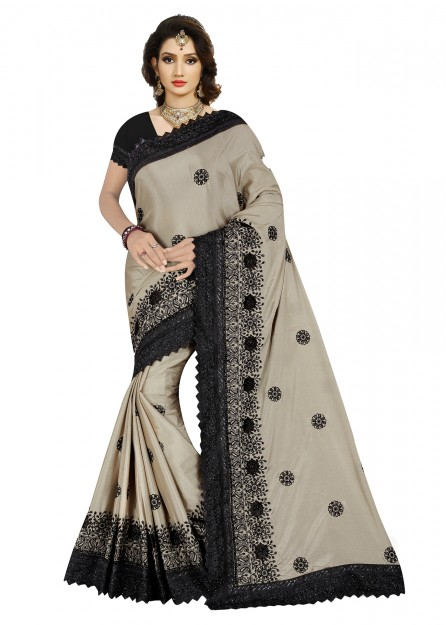 Navy Blue & Black colour soft cotton silk saree-Grey-Standard