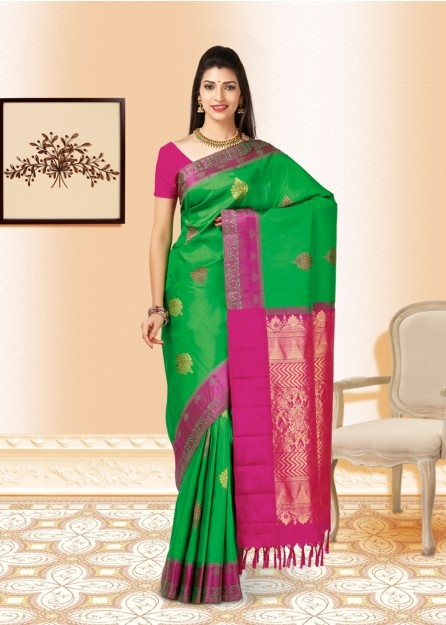 Leaf Green,Pink & Gold  Kanchipuram Pure Silk - Online Only