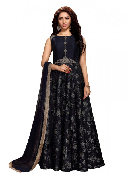 Navy blue gown with dupatta