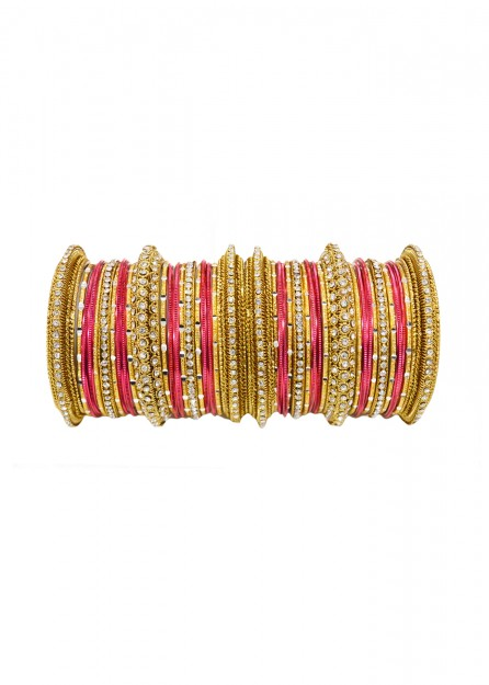Antic Gold White Stone with Coral Bangles