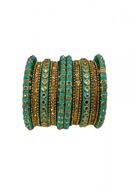 Antique  Gold Lct Stone with Rama Blue Thread Bangles