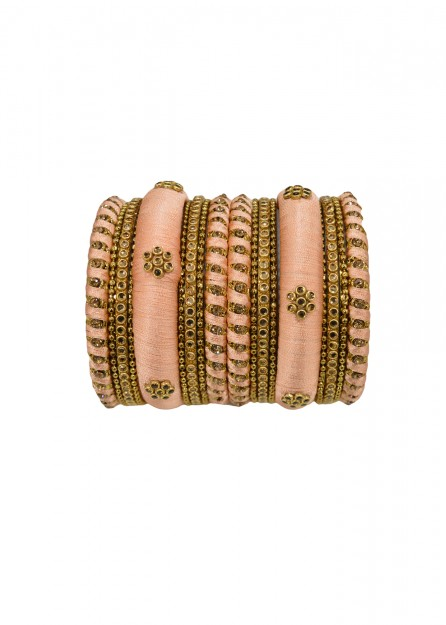 Antique  Gold Lct Stone with Peach Thread Bangles