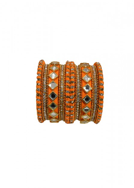 Antique  Gold Lct White Stone with Orange Thread Bangles