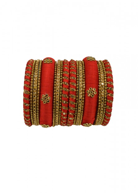 Antique  Gold Lct Stone with Red Thread Bangles