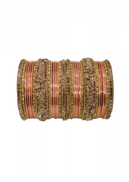 Antique  Gold Lakh Lct Stone with Peach  Bangles