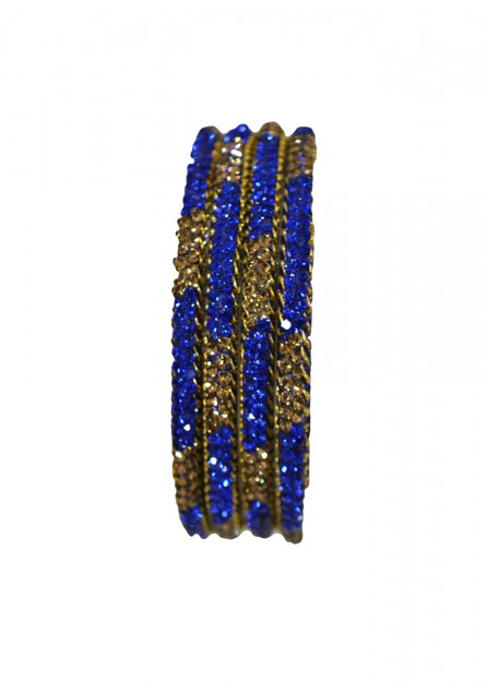 Lakh Lct Stone with Royal Blue Bangles