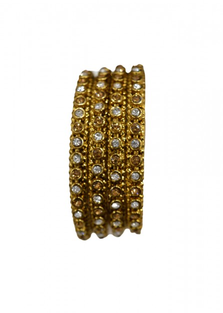 Antique  Gold with White and Lct Stone Bangles