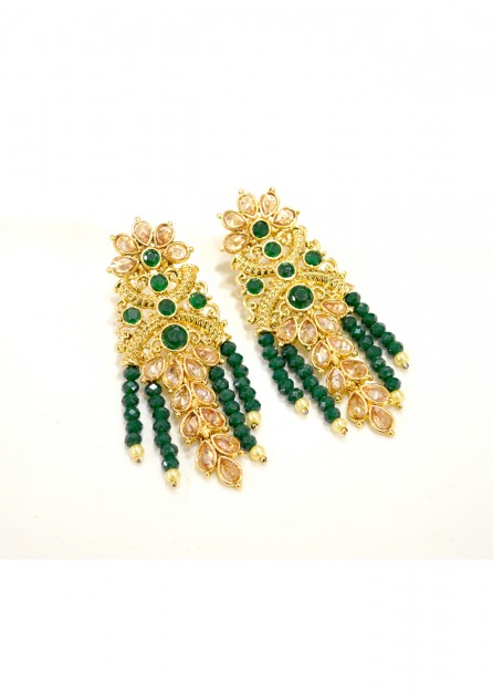 Antique Gold with Green Earrings