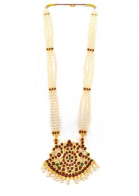 Maroon and Green with Pearls Bharatanatyam Long Necklace
