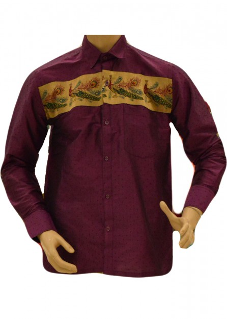 Purple Silk Shirt Peacock Border