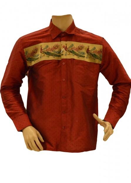 Dark Red Silk Shirt Peacock Border
