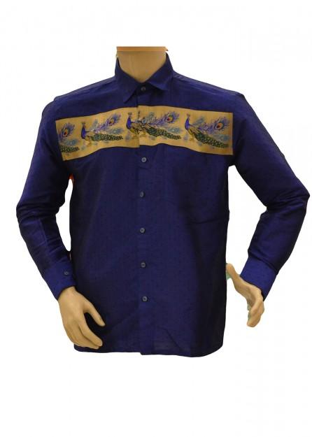 Royal Blue Silk Shirt Peacock Border