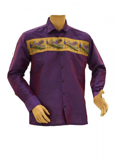 Violet Silk Shirt Peacock Border