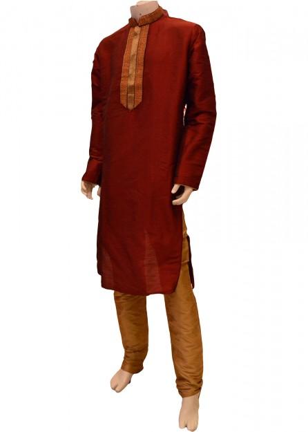 Maroon cotton silk kurta pyjama