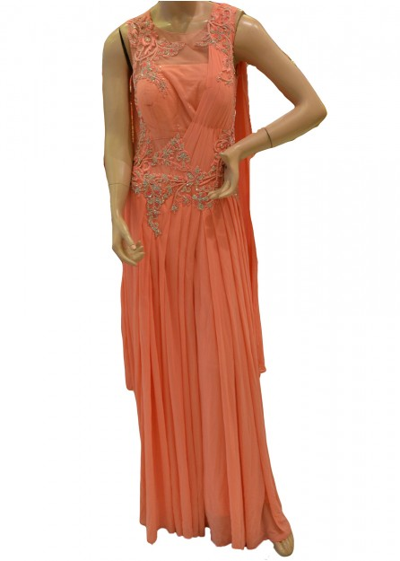 Pleated Peach Net Gown
